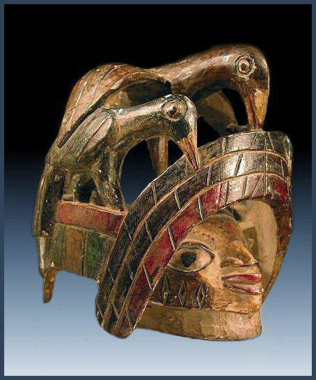 Yoruba gelede mask with birds - RAND AFRICAN ART